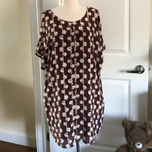 Madewell Batik print tunic silk dress slip lining
